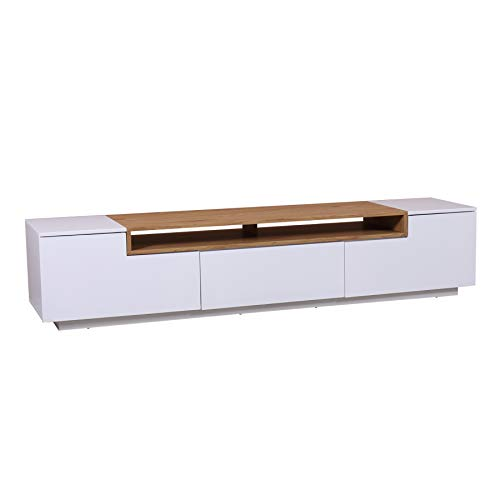 Invicta Interior Modernes Media TV-Lowboard LOFT 180cm edelmatt weiß Eichenholz-Optik Sideboard TV-Konsole -