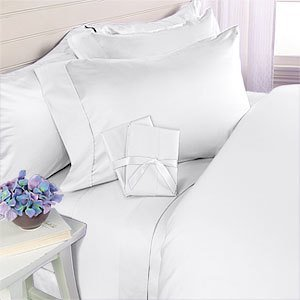 1000-thread-count Ägyptische Baumwolle 6 Bed Sheet Set, inkl. 4 Kissen Set, California King, Weiß Massiv 1000 TC