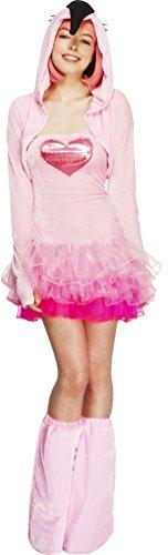 Fever, Damen Flamingo Kostüm, Tutu-Kleid mit abnehmbaren Trägern, Jacke mit Tier Kapuze und Überstiefel, Größe: XS, 40092
