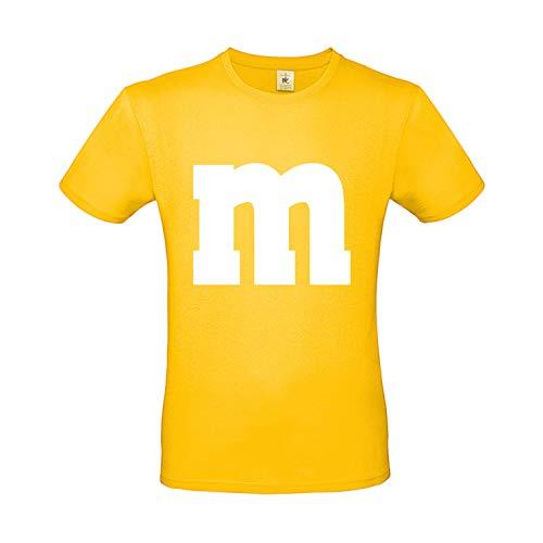 Shirt-Panda Herren T-Shirt M&M Karneval Gruppen Kostüm Fasching Verkleidung Party Darts Unisex Kinder Gelb 2XL