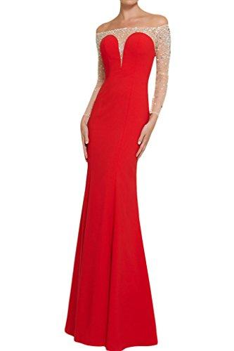 ivyd ressing robe U Long aermel avec pierres de la découpe Satin Party Soirée Robe de Bal Robe Rouge