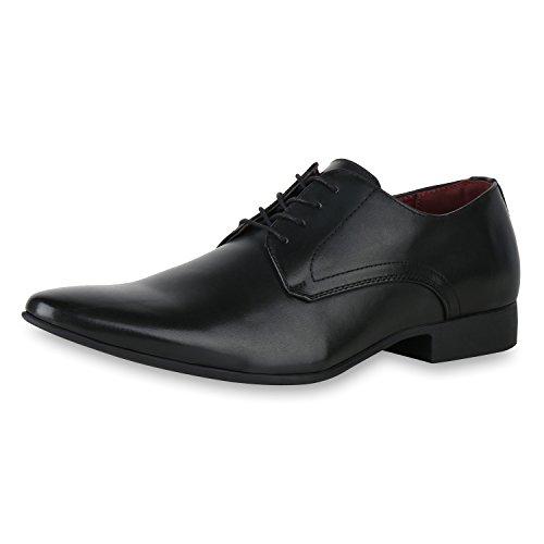 SCARPE VITA Herren Klassische Schnürer Business Schnürschuhe Leder-Optik Schuhe 161118 Schwarz Schwarz 41