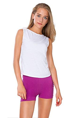 FUTURO FASHION FUTURO FASHION Super weiche Baumwoll-Shorts, elastisch, Stretch, Yoga-Unterhose, Größe 36-22 PSL5 Gr. 34, Amaranth