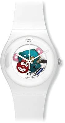 Swatch SUOW100 - Reloj analógico de cuarzo unisex con correa de plástico, color blanco de Swatch