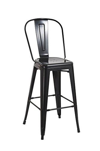 Barhocker mit Lehne aus Metall SCHWARZ Hocker mit Lehne stühle Metall Stuhl DUHOME TYP 9-636