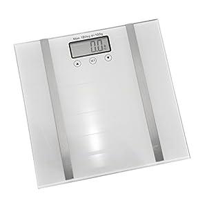 Bambelaa! Personenwaage Digitale Waage Körperwaage Körperanalyse Fitnesswaage Digitalwaage Gewichtswaage Körperfettwaage Glas 180 kg