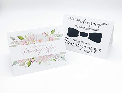 Doppelpack Willst Du meine Trauzeugin sein? Willst Du mein Trauzeuge sein? Karten mit Rosen für Sie und mit Fliege für Ihn Geschenk für Trauzeugin und Trauzeuge Frage