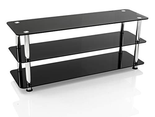 Mountright – schwarzer Fernsehschrank aus Glas, für die meisten LED-, LCD- und Plasma-Fernseher(Für Geräte zwischen 41 und 55 Zoll / 104 und 140 cm Bildschirmdiagonale)