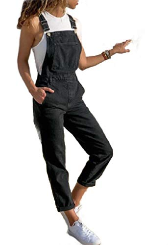 CuteRose Womens Overalls Pockets Denim Jeans Straight Leg Relaxed Fit Bib Pants Black XS