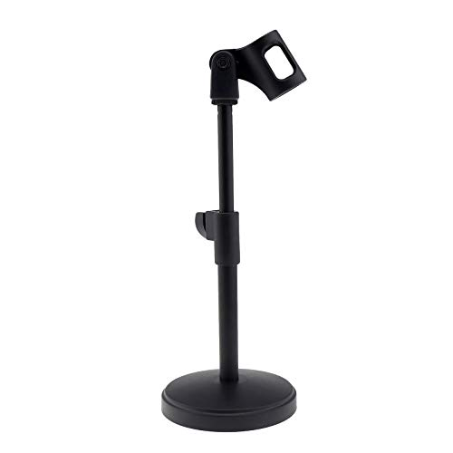 OTOTEC Verstellbarer Mikrofonständer mit Mikrofonclip, Metall, Schwarz, 26-35 cm - 26 Hohe Metall
