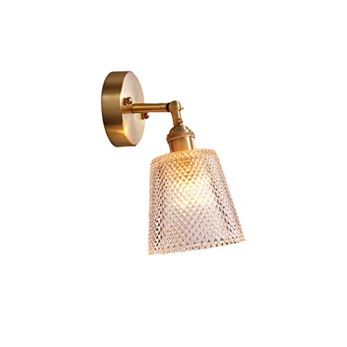E27 Glasschirm Wandleuchten, 60w max Kupfer Badezimmer vanity licht Wandleuchter wandbeleuchtung für wohnzimmer schlafzimmer bett-A -