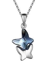 T400 Jewelers Collar de Mariposa para Mujer con Cristal de Swarovski Azul Zafiro Regalos de Joyería