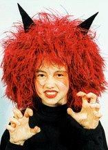 Perücke: Teufel-Perücke, rot, schwarze Hörner, (Teufel Perücke)
