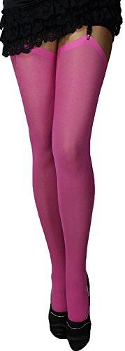 3 Paar Omas klassische warme dickere Strapsstrümpfe Farben zum Anstrapsen Strapse Strümpfe 67 den für Herbst, Winter (rosa-pink)