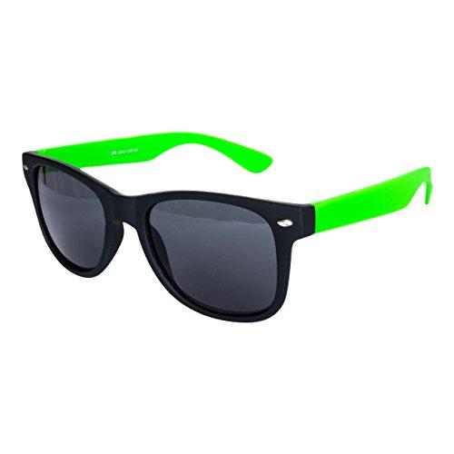 Ciffre EL-Sunprotect® Sonnenbrille Nerdbrille Brille Nerd Matt Gummiert Neon Grün Schwarz UV400
