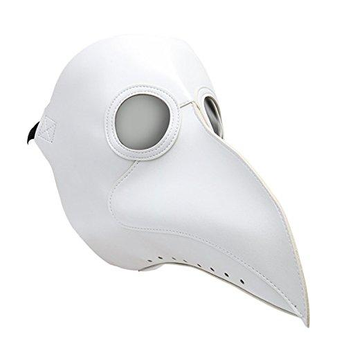 Huntfgold Schnabelmaske Pest Arzt Maske Vögel Weiß Lange Nase Steampunk Maske