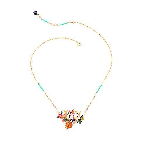 JUICY GRAPE Damen Exquisite Cloisonné Handgefertigte Emaille Halskette für Frauen, Vintage Echtgold, mehrere Steine, Metall, Multi, Größe S