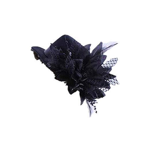 Blumen Kostüm Verkäufer - DOLDOA Damen Kostüm Accessoires Mode Frauen Party Kopf Haarspange Haarspange Hut Blume Feder Braut Stirnband (Freie Größe, Schwarz)