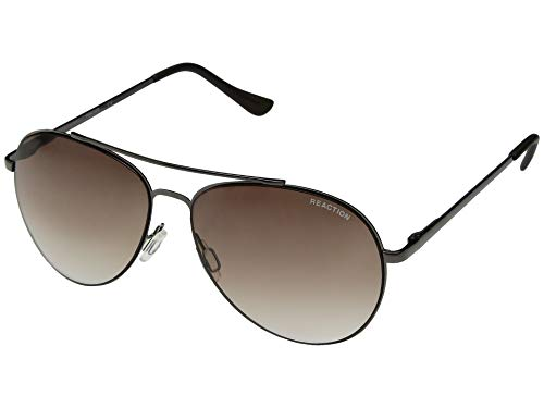 Kenneth Cole Reaction Gunmetal Gradient Brown Aviator Sunglasses