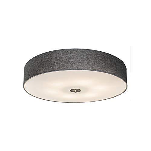 QAZQA Landhaus/Vintage/Rustikal/Modern Deckenleuchte/Deckenlampe/Lampe/Leuchte Drum mit Schirm 70 Jute grau/Innenbeleuchtung/Wohnzimmerlampe/Schlafzimmer/Küche Glas/Textil/Stahl R