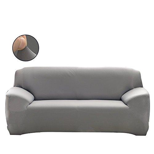 PengXiang Überzug, Elastische Sofa Überwürfe mit Spandex-Stoff Sofa Abdeckung in Farbe von Grau (3 Sitzer für Sofalänge von 175-220cm) (Loveseat Drei Stoff Sitz)