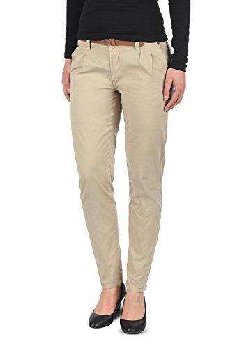 DESIRES Jacqueline Damen Chino Hose Stoffhose Mit Gürtel Aus 100% Baumwolle Slim Fit, Größe:40, Farbe:Simple Taupe (0162)