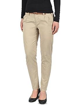 Desires Jacqueline Pantalón Chino Pantalón De Tela para Mujer con Cinturón De 100% Algodón Slim-Fit