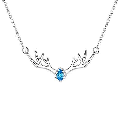 iHOMIKI Moda Elk Cuerno Collar Rhinestone Plateado Ciervos Collar prácticos Regalos de joyería Creativa para Muchachas de Las Mujeres