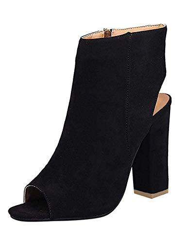 Minetom Damen Mode Elegante Schuhe High Heels Reißverschluss Chunky Anti Rutsch Sohle Stiefeletten Stiefel Kurzschaft Boots Sandalen Schwarz EU 34 -