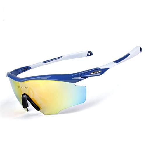 ZJXHAO Polarisierte Sport-Sonnenbrille für Männer Frauen Radfahren Laufen Fahren Angeln Golf Baseball GlassesTR90 Unbreakable Frame 5 Wechselobjektive,A4