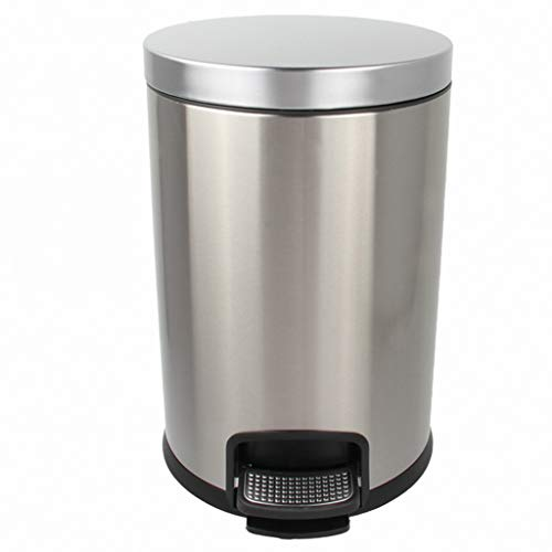WOAINI Round Steel Step Mülleimer Papierkorb, Mülltonne für Badezimmer, Schlafzimmer, Küche, Bastelraum, Büro - herausnehmbarer Liner Bucket / 12L (Color : Silver) (Papierkorb Liner)