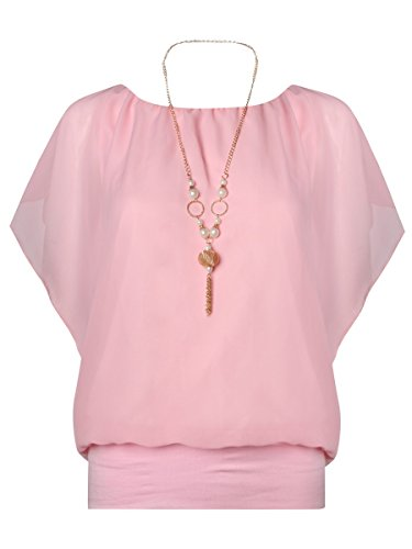 Ladies Waterfall manches en mousseline de soie Top avec collier EUR taille 36-42 Poudre rose