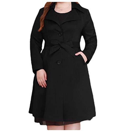 CuteRose Women Outwear Button Elegant Plus-Size Belted Mid Long Trench Coat Black 4XL