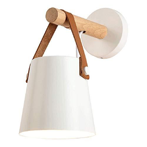 Holz-Wandleuchte Weiss Metall-Schirm Wandlampe Nordic-Stil Innen Hängend Wandlicht E27 Leuchtmittel für Wohnzimmer Schlafzimmer Studieren Treppen Aisle