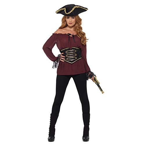 NET TOYS Attraktive Piratenbluse | Burgund in Größe S (34/36) | Aufregende Frauen-Verkleidung Bluse Piratin | Der Hit für Piratenparty & Mottoparty