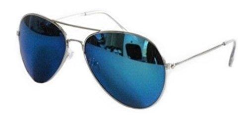 Sonnenbrille im Piloten- / FBI-Stil, Gestell silberfarben, verspiegelte blaue Gläser