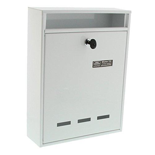 BURG-WÄCHTER, Anlagenbriefkasten, A4 Einwurf-Format, Verzinkter Stahl, Wismar 772 W, Weiß