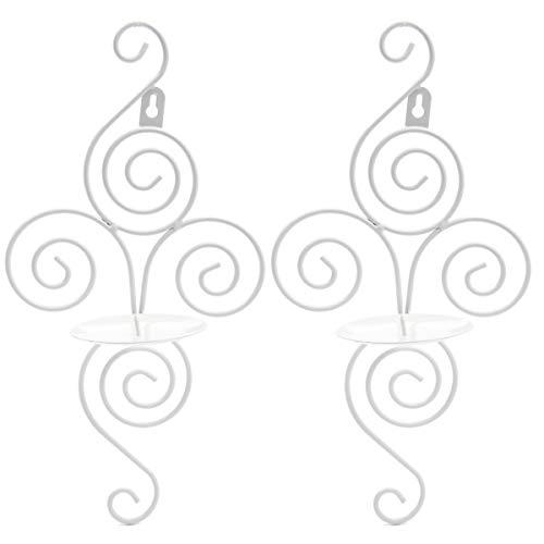 Anladia 2 Stück Wandkerzenhalter Wandleuchter Kerzenständer Kerzenleuchter Weiß Eisen Antik Kerzen Deko Hochzeit 18x12x38cm