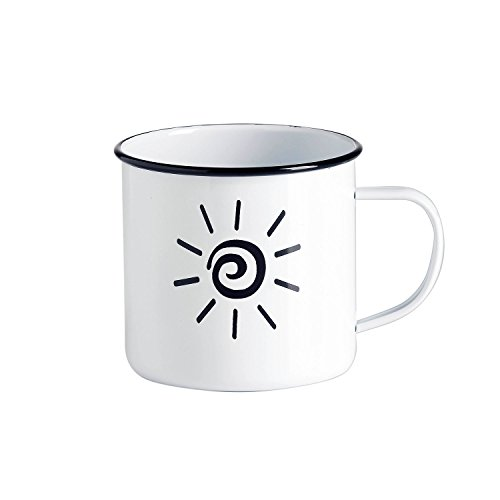 Emaille-Tasse / Kaffeebecher / Tasse weiß - Design Sonne Sun Sonnenschein / Vintage-Tasse groß / robust – 500 ml / für Picknick Outdoor Camping Retro-Küche / Becher emailliert