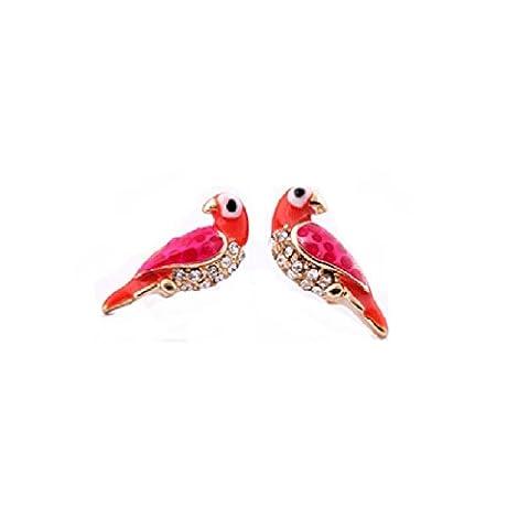 Lares Domi Boucles d'oreilles vintage incrustées de strass Motifs oiseaux style Art Nouveau