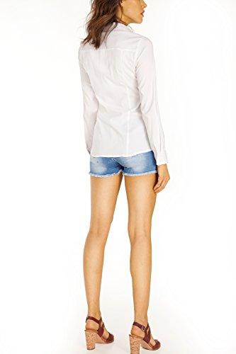 Bestyledberlin Damen Blusen, Stretch Tops, taillierte Hemden, Oberteile gestreift t35z Marine