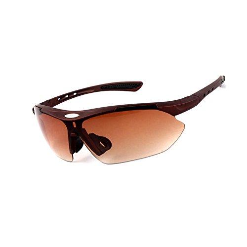 BYCSD Reiten Polarisierte Brille Outdoor Sports - Männer und Frauen Läufer Mountainbike Anti-Wind (Farbe : Braun)