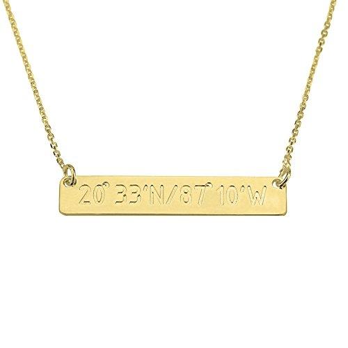 HACOOL personalizzata-Collana in argento puro 925 per bambini personalizzabile con nome Coordinate di latitudine e longitudine., Argento, cod. 674-752-213 - Dome Rose Collana