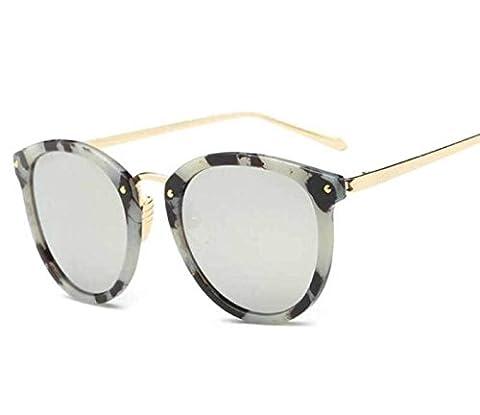 Sonnenbrille Trendy Bright Reflektierende Damen Mode Sonnenbrillen Runde Big Box Sonnenbrillen,A3