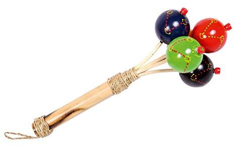 Erlebnis Mittelalter - Rassel Maracas mit 5 bunten Kugeln | Aus Holz | Musikinstrumente für Erwachsene, Kinder & Babys