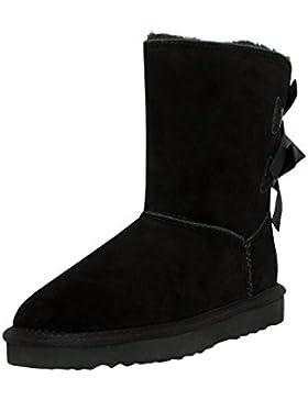 SKUTARI Wildleder Damen Frauen Winter-Boots   Warm Gefüttert   Schlupf-Stiefel mit Stabiler Sohle   Schleife Pailletten...