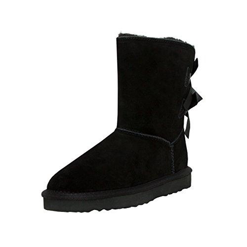 SKUTARI Leder - Damen Winterstiefel Gefüttert Bow Boots Schneestiefel Schleife (38 EU, Schwarz) (Wildleder Leder Boot)