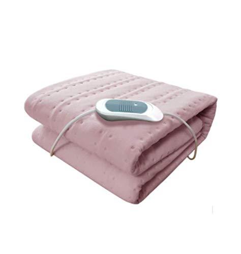 Matratzenheizung- Einzelbett Beheizte Niederspannungs-Heizdecken, Zuhause Waschbar 3-Gang-Temperatureinstellung Samt Plüsch Sicherheit Haushaltsgebrauch, sichere Komfort-Technologie,Pink