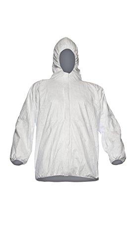 DuPont Tyvek 500 Jacke, 10 Stk. Jacken mit Kapuze zur Ergänzung von Schutzkleidung, PSA Kategorie, Weiß, Größe XL -