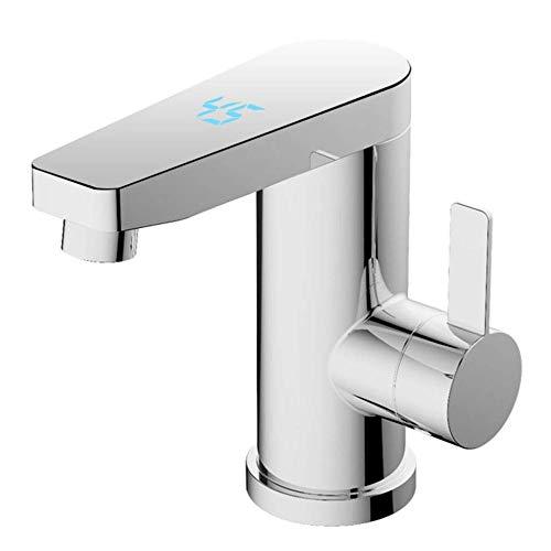 GUANEN Elektrischer Warmwasserhahn für Bad-Sofort-Warmwasserbereiter Nur 16 cm Höhe Geeignet für die Installation im Waschbecken